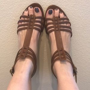 Brown leather Talbots sandals size 8